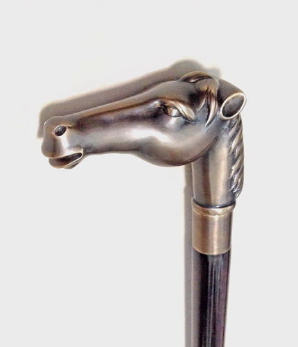 Grandpa NEW! HORSE HEAD WALKING STICK SOLID BRASS & STRONG WOOD