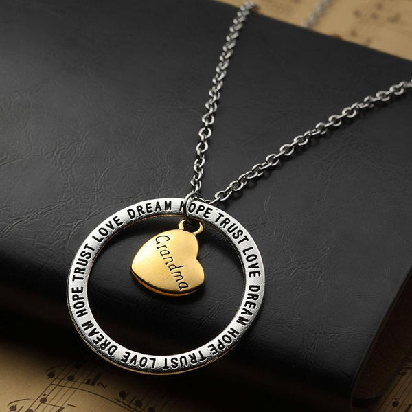 Retro Silver Charm Love Dream Hope Trust Circle Charm Pendant Necklace for Grandma