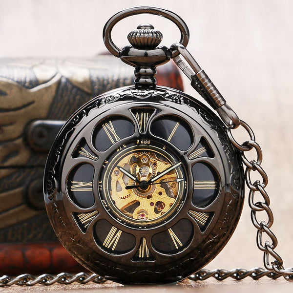 Retro Hollow Flower Pocket Watch For Women