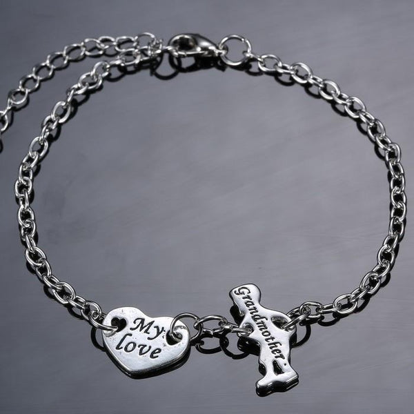 Trendy Fashion heart grandma Charm Bracelet & Bangle Adjustable Chain Bracelet