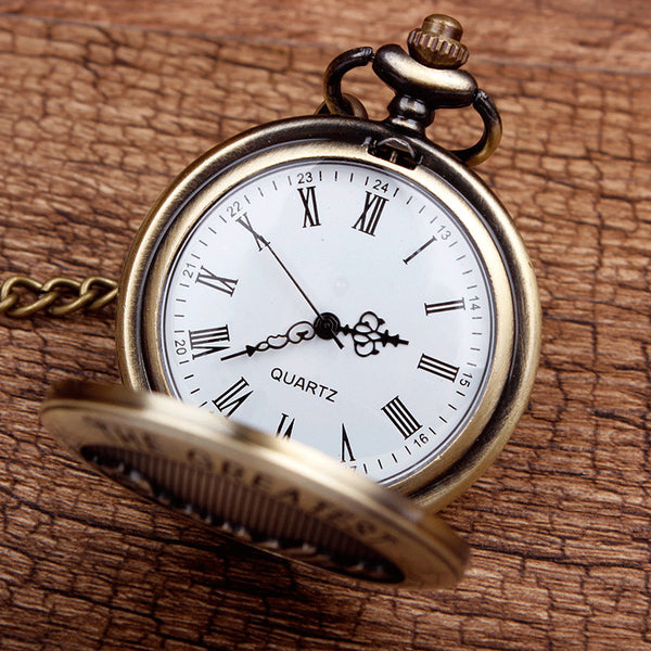 New Arrival Antique The Greatest Grandpa Bronze Quartz Pocket Watch Pendant Chain Men's Top Quality Best Gifts P309-1