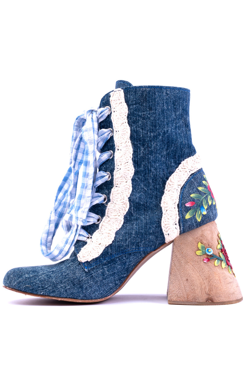 Doll House Boots - Denim & Gingham