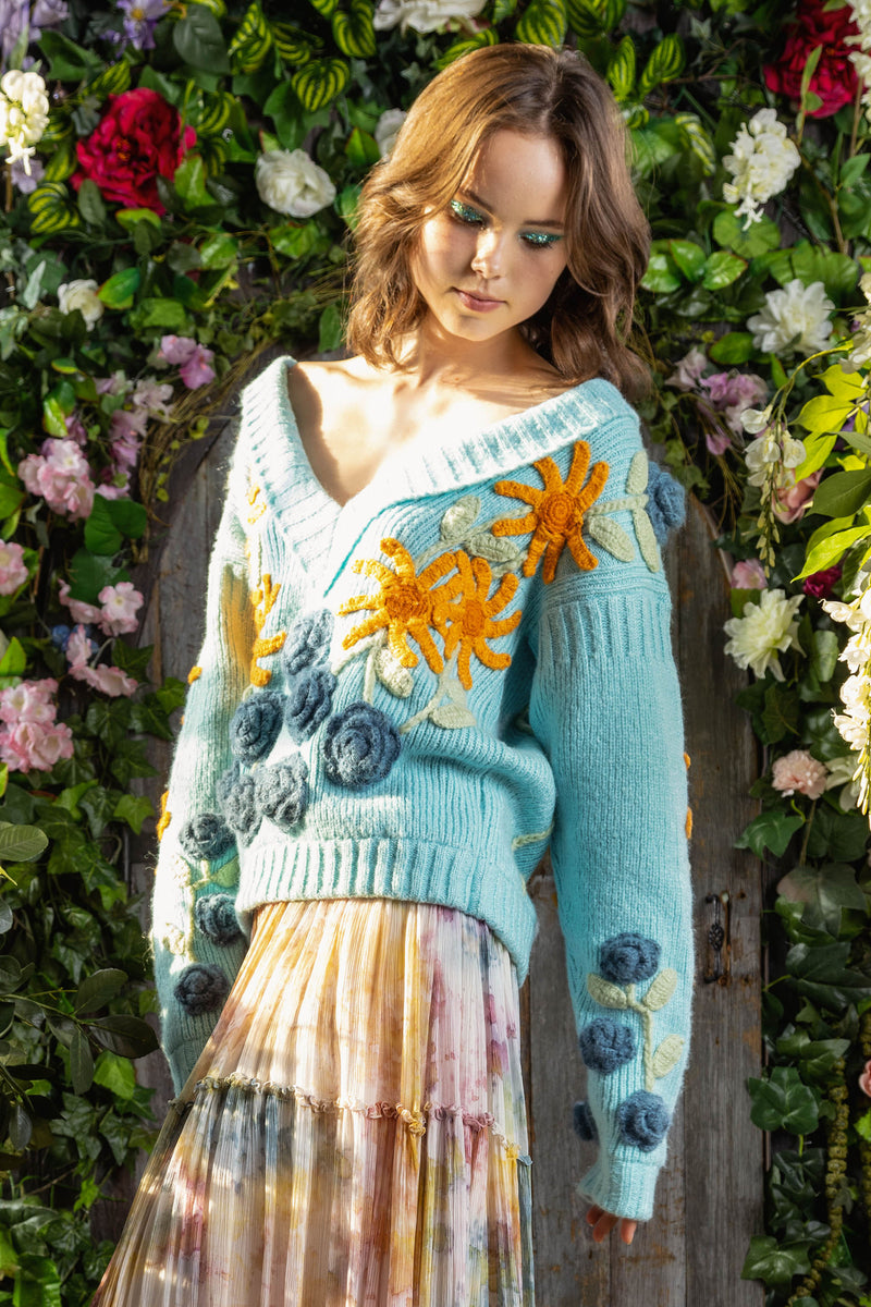 A Stitch In Time - hand knitted sweater in Aqua