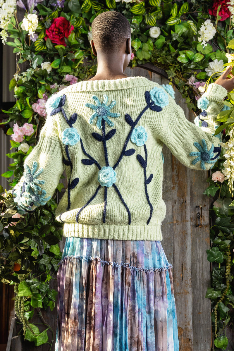 A Stitch In Time - hand knitted sweater in Mint