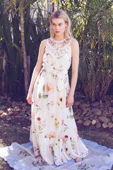 FILLYBOO - 'BABYLON'S GARDEN' - SILK COTTON EMBROIDERED MAXI DRESS