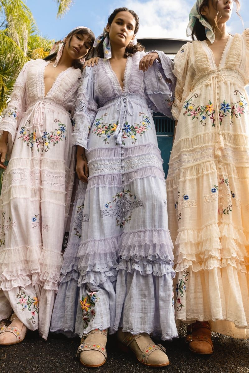 Charm Your Way - Embroidered maxi dress/duster - Rosey Tea in Baby Lavender