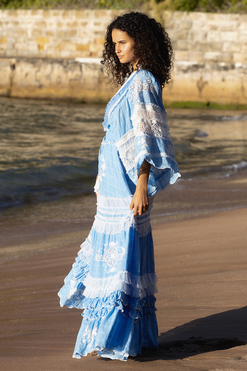 Charm Your Way - Embroidered maxi dress/duster - Rosey Tea in Cornflower Blue