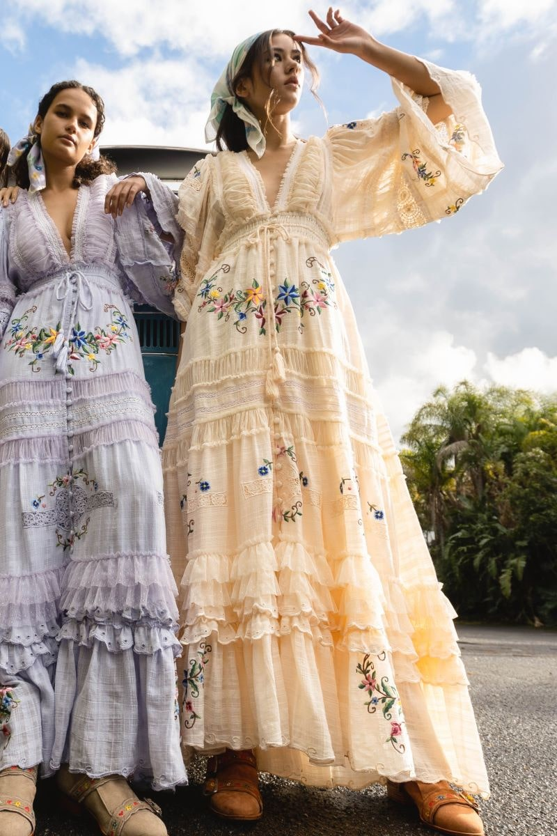 Charm Your Way - Embroidered maxi dress/duster - Rosey Tea in Ecru