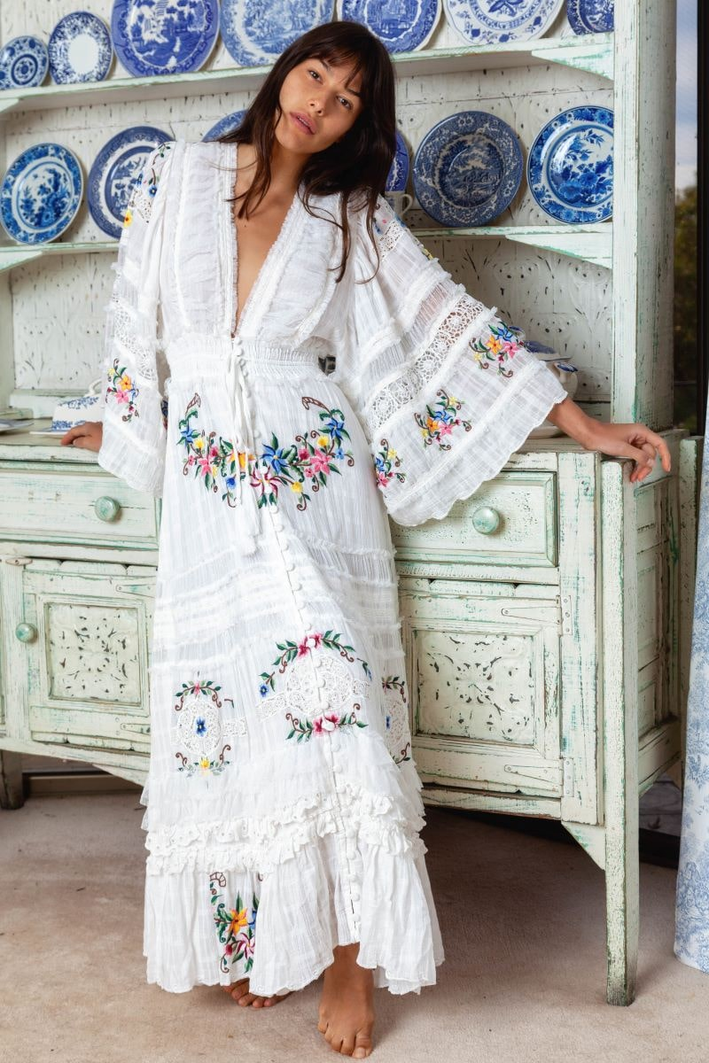 Charm Your Way - Embroidered maxi dress/duster - Rosey Tea in Ivory