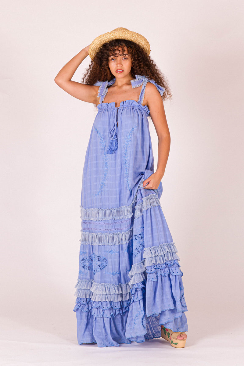 Charm Your Way - Camisole Maxi Dress - Kentucky Blue
