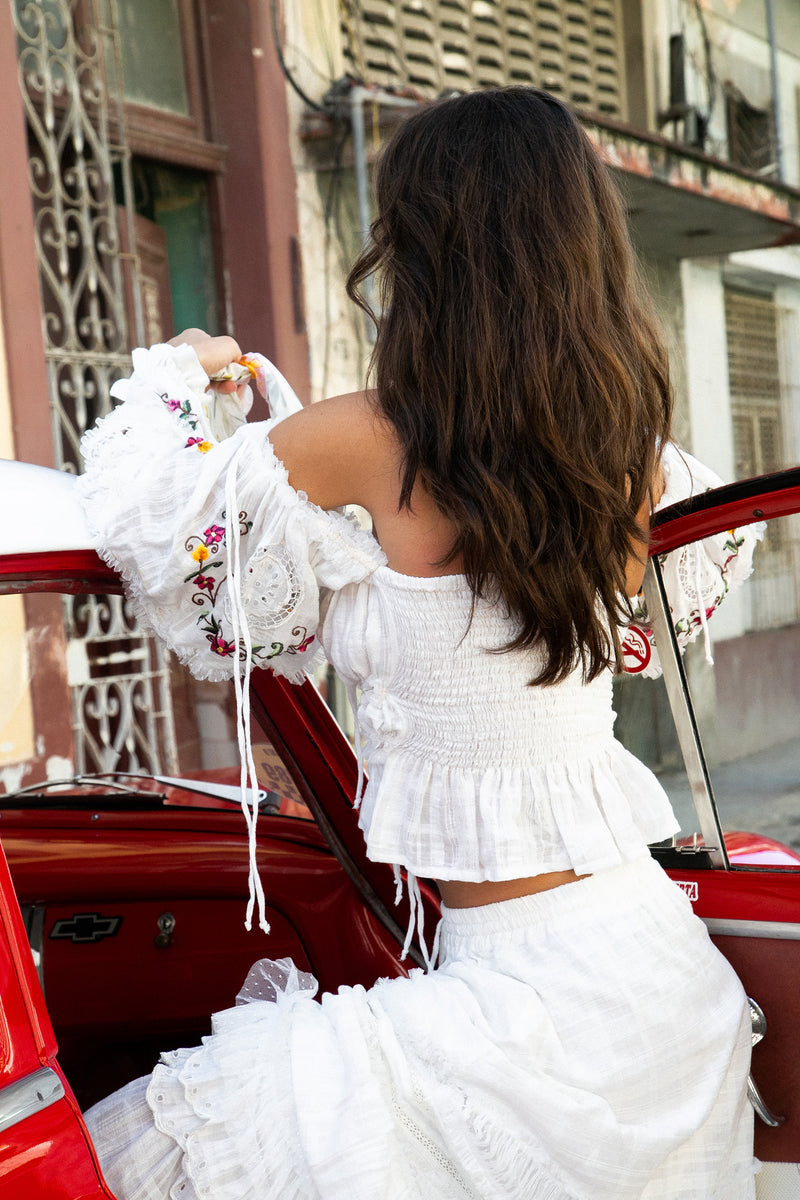 Charm Your Way - Off-the-shoulder embroidered top