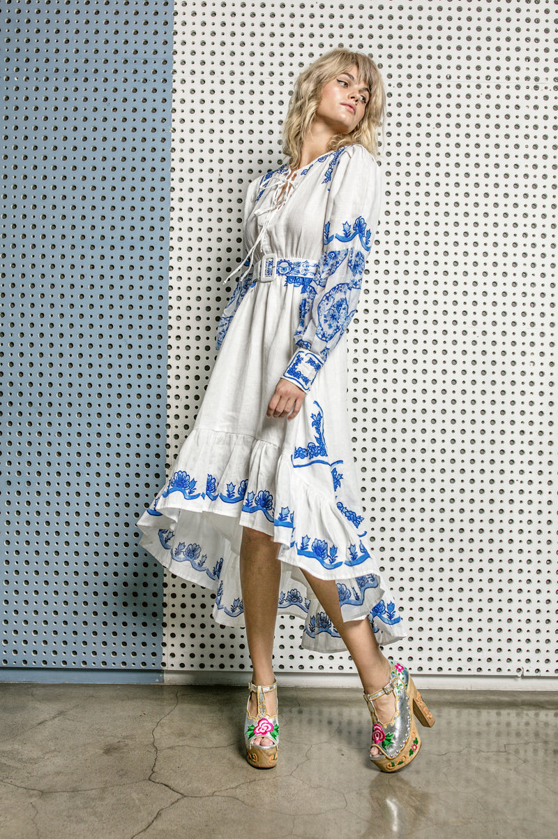 Colette - Embroidered & printed day dress