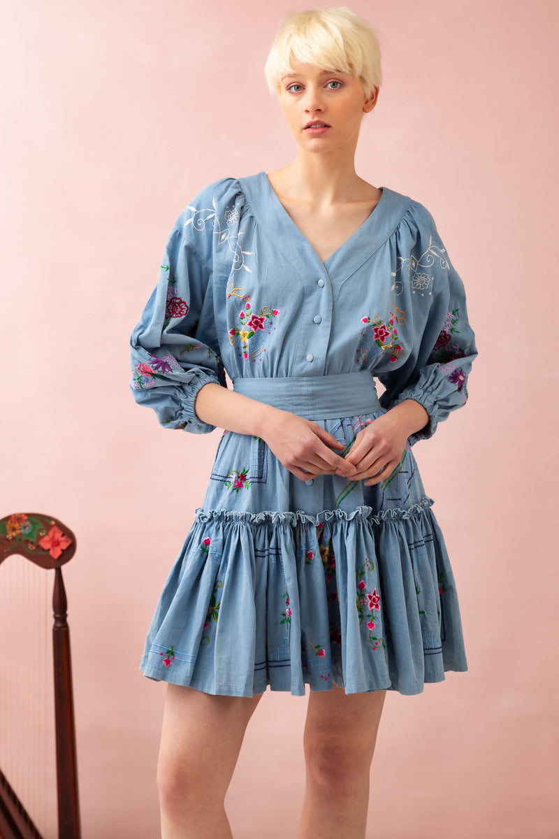 Dream In Colour - Embroidered Mini Dress in Chambray