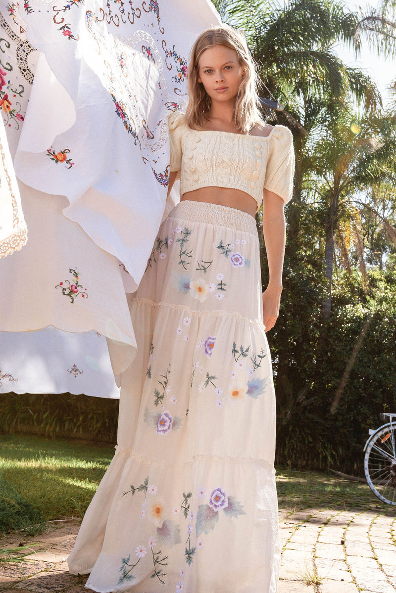 Daisy Island - Batik & embroidered maxi skirt - Angel Wing
