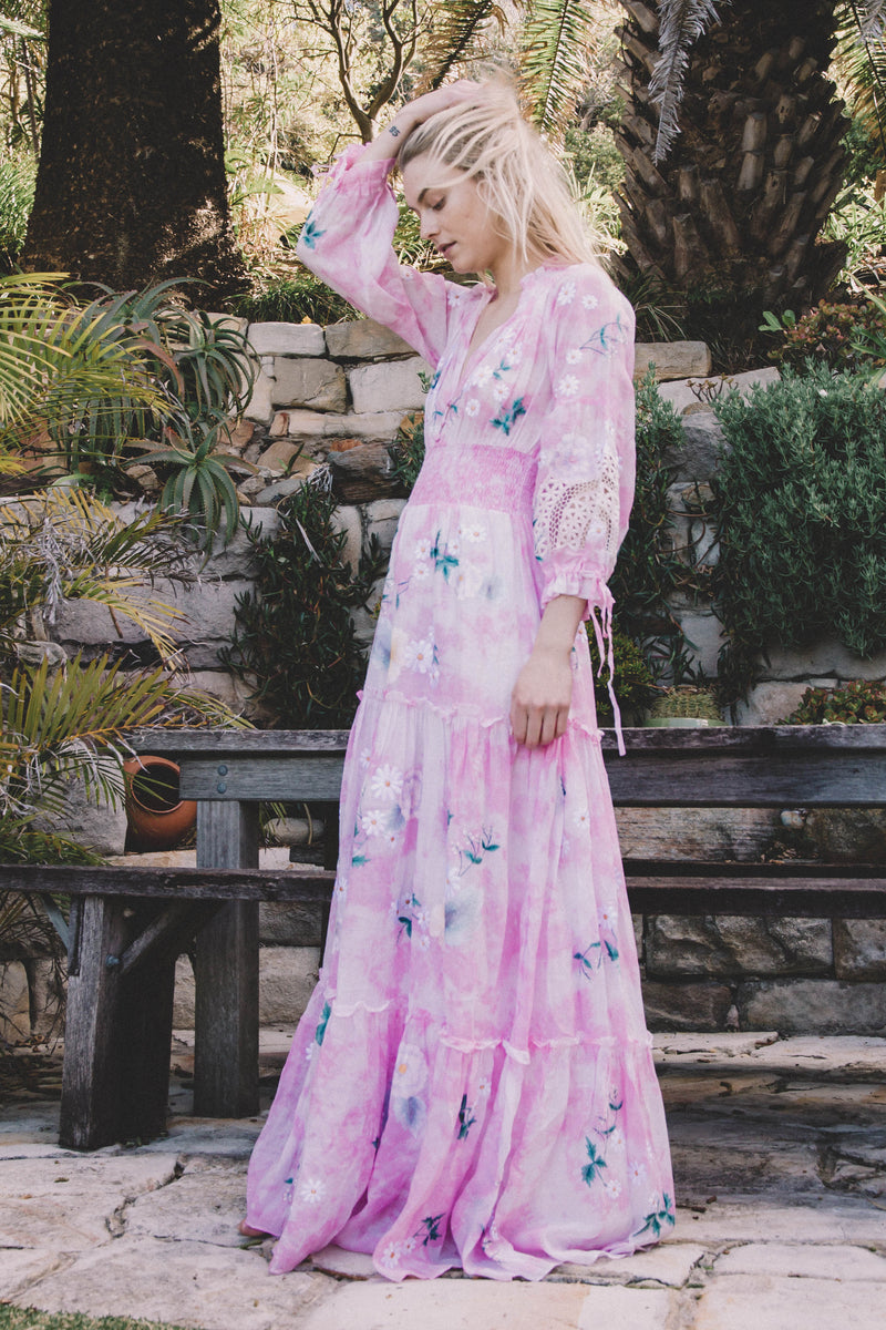 Daisy Island - Batik & embroidered maxi dress