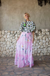 Daisy Island - Batik & embroidered maxi skirt