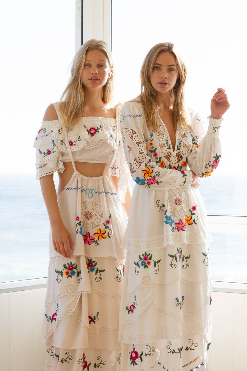 DOLL HOUSE' - EMBROIDERED MAXI DRESS