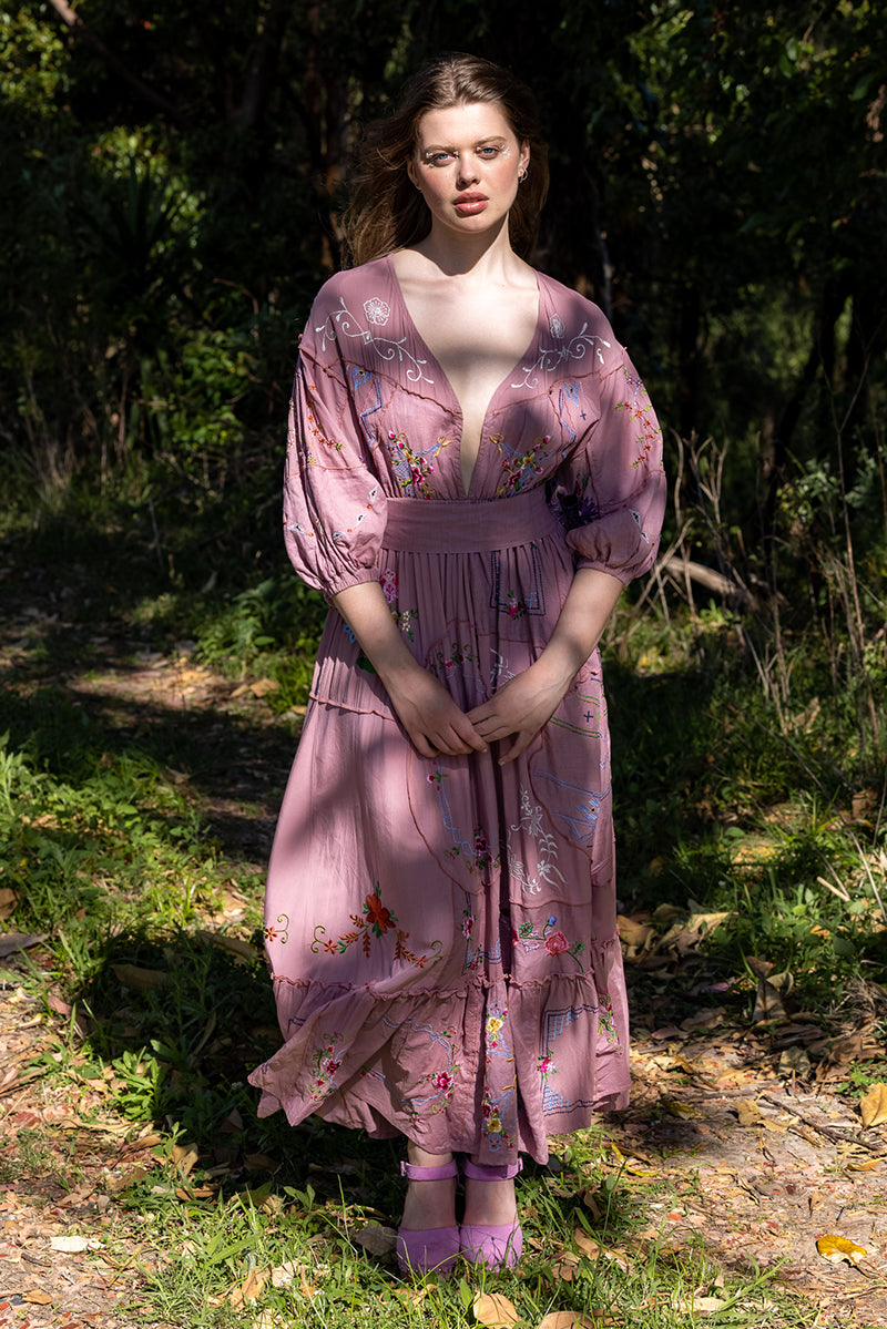 Dream In Colour - Embroidered Maxi Dress in Ash Rose