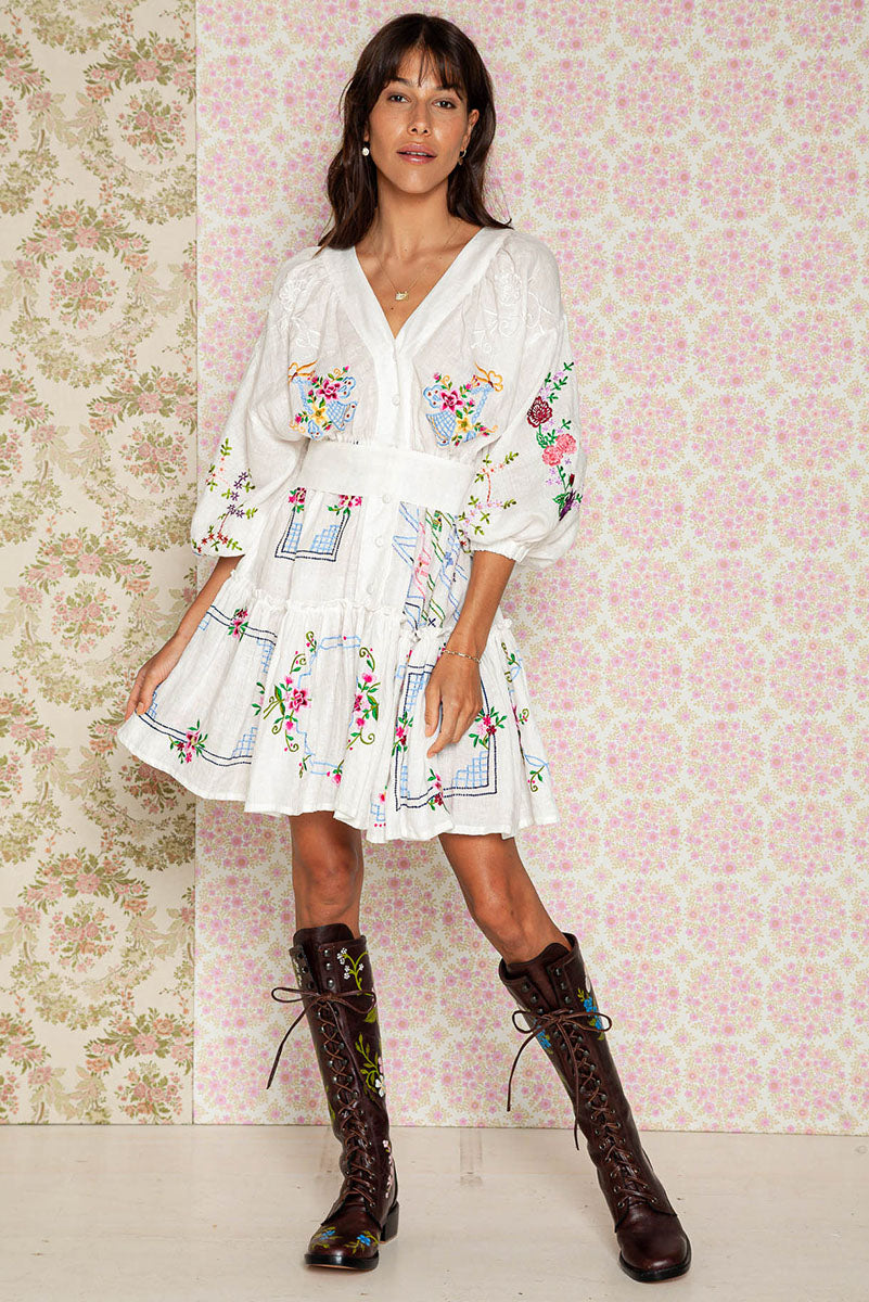 Dream In Colour - Embroidered Mini Dress in Ivory