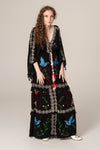 'HEART ON THE FLOOR' - HAND EMBROIDERED DUSTER & MAXI DRESS - BLACK