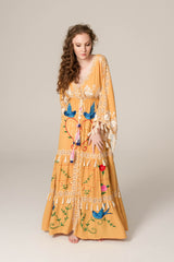 FILLYBOO - 'HEART ON THE FLOOR' - HAND EMBROIDERED DUSTER - GOLD