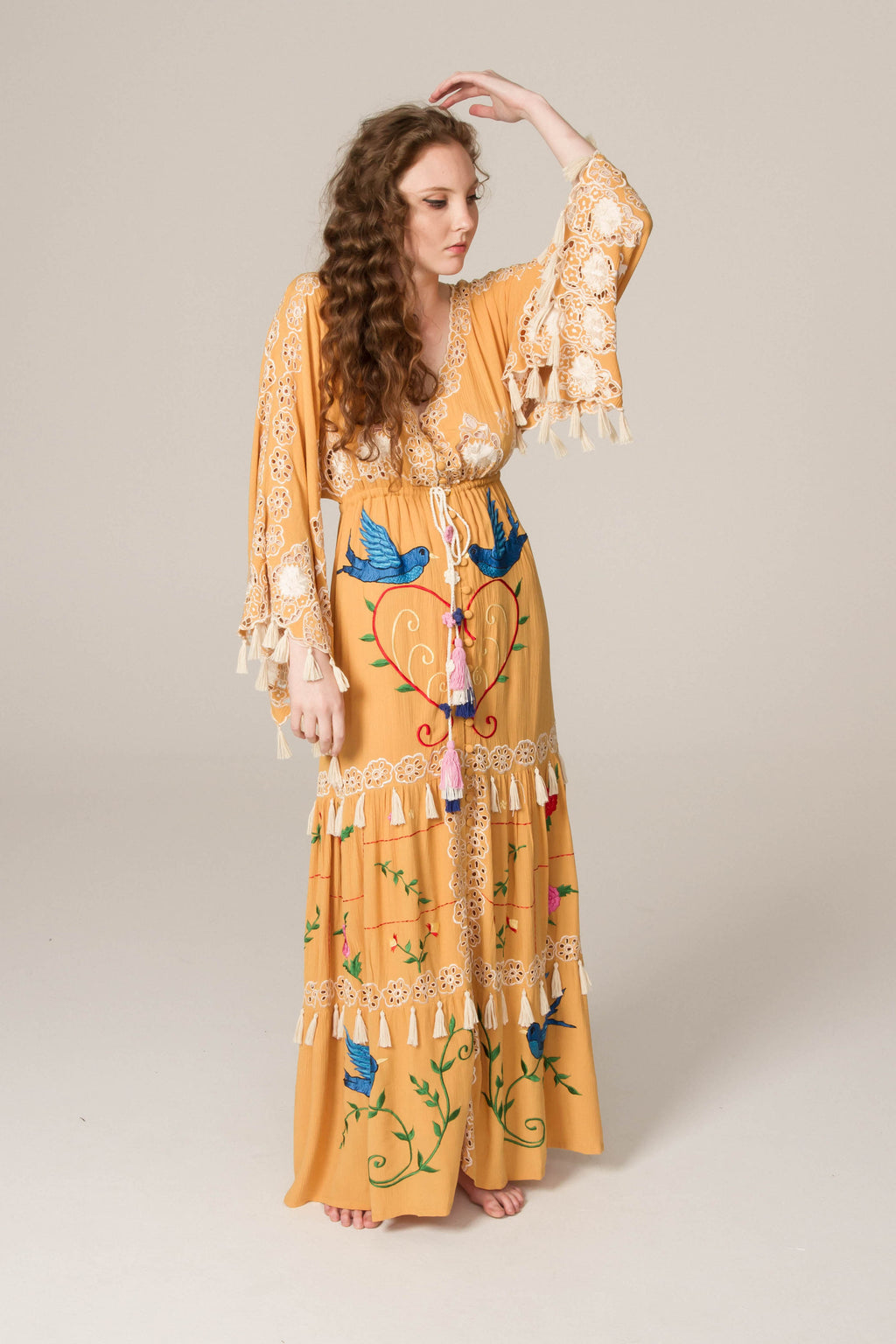 'HEART ON THE FLOOR' - HAND EMBROIDERED DUSTER & MAXI DRESS - GOLD WITH MULTI