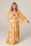 'HEART ON THE FLOOR' - HAND EMBROIDERED DUSTER & MAXI DRESS - GOLD & IVORY