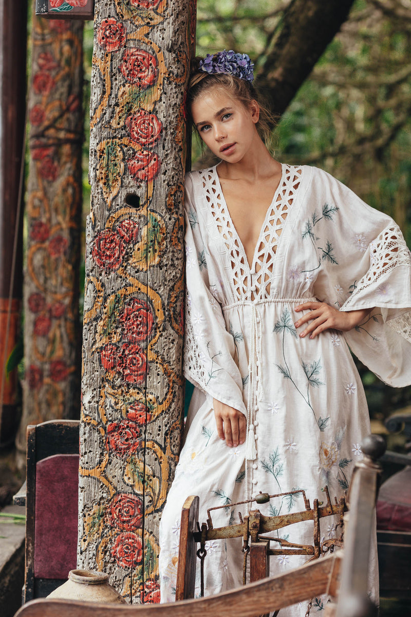 'I AM LOLA' - HAND EMBROIDERED DUSTER & MAXI DRESS - BEIGE