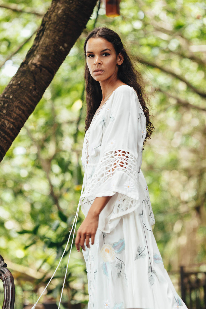 'I AM LOLA' - HAND EMBROIDERED DUSTER AND MAXI DRESS - IVORY