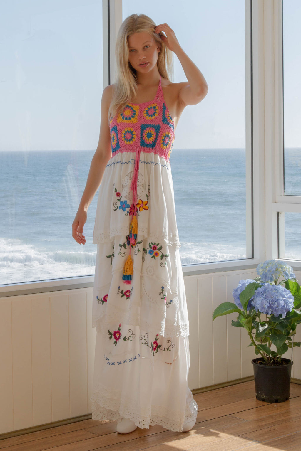 FILLYBOO - 'DOLL HOUSE' - KISS CHASEY EMBROIDERED & CROCHETED MAXI DRESS