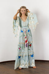 FILLYBOO - 'LITTLE BEAR' - HAND EMBROIDERED MAXI DRESS - PASTEL JADE