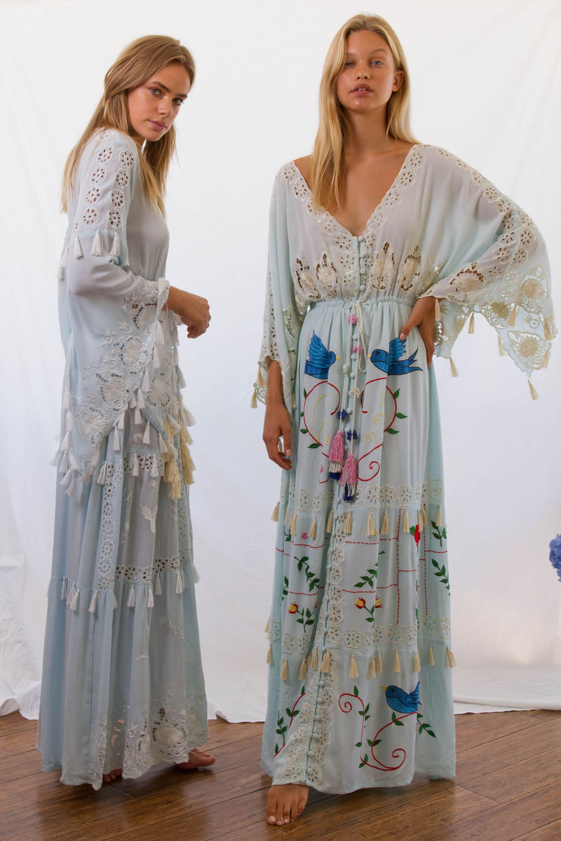 'LITTLE BEAR' - HAND EMBROIDERED MAXI DRESS - 'BABY BABY' BLUE WITH IVORY EMBROIDERY