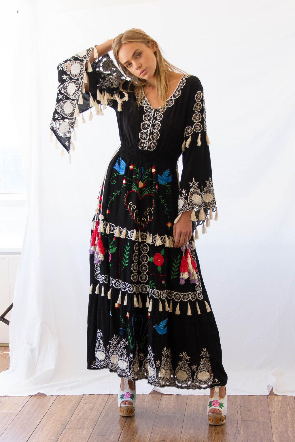 FILLYBOO - 'LITTLE BEAR' - HAND EMBROIDERED MAXI DRESS - BLACK/MULTI