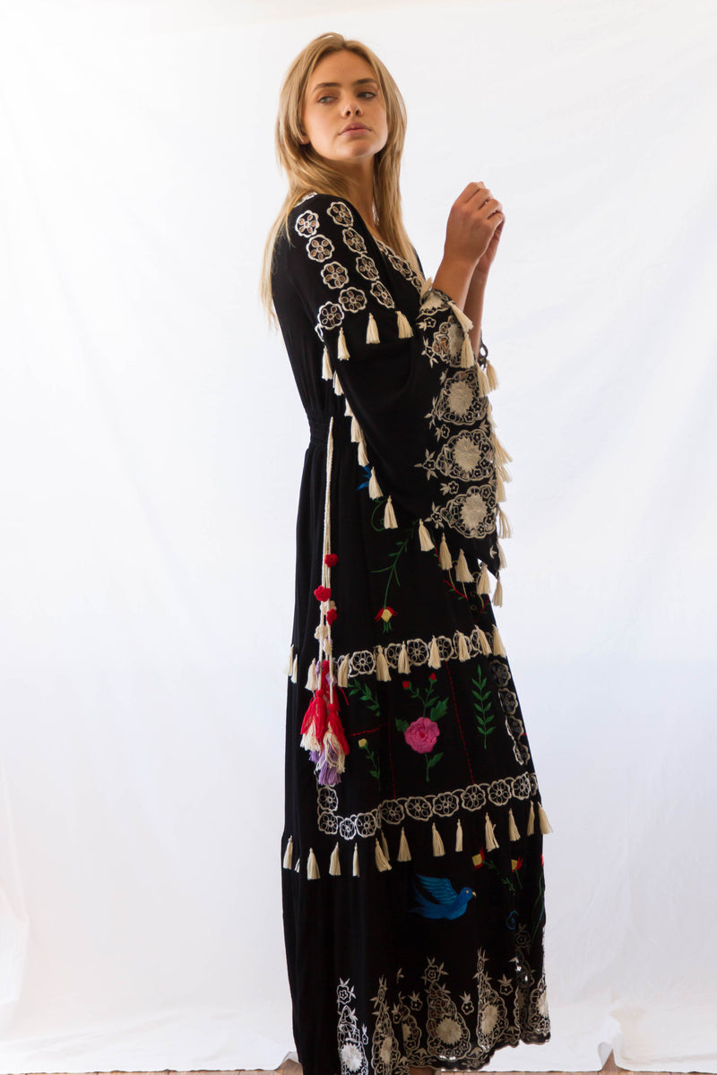 'LITTLE BEAR' - HAND EMBROIDERED MAXI DRESS - BLACK