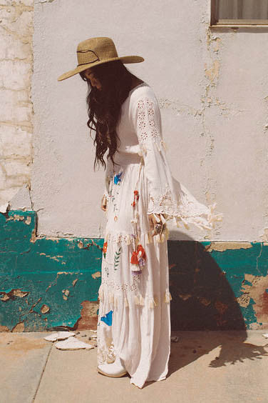 'LITTLE BEAR' - HAND EMBROIDERED MAXI DRESS - BLUSH