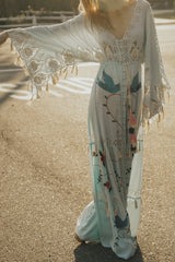 FILLYBOO - 'HEART ON THE FLOOR' - HAND EMBROIDERED DUSTER - ICE MINT