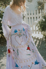FILLYBOO - 'LITTLE BEAR' - HAND EMBROIDERED MAXI DRESS - LAVENDER
