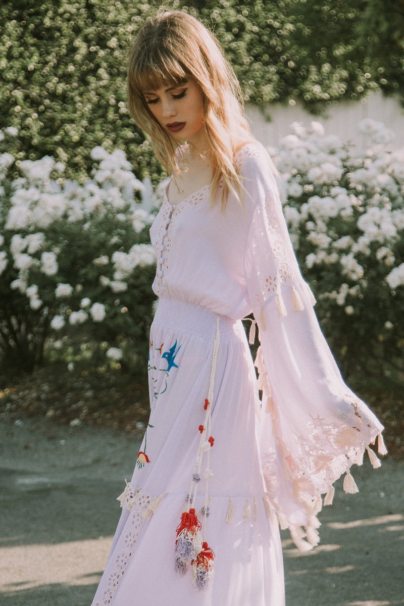 'LITTLE BEAR' - HAND EMBROIDERED MAXI DRESS - LAVENDER