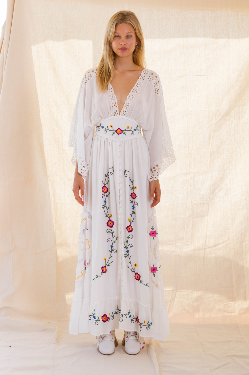 FILLYBOO - 'LOVE NOTE' KIMONO MAXI DRESS - IVORY
