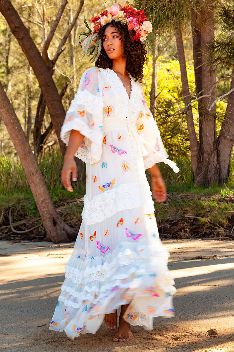 Madam Butterfly - Embroidered Duster in Afterglow