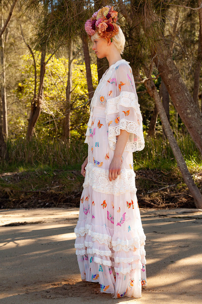 Madam Butterfly - Embroidered Duster in Delicacy