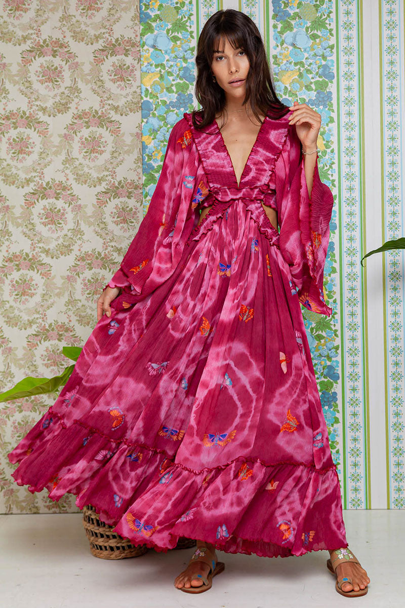 Madam Butterfly - Cut Out Dress in Fuchsia