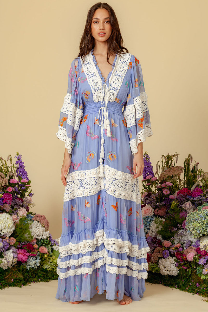 Madam Butterfly - Embroidered Duster in Periwinkle