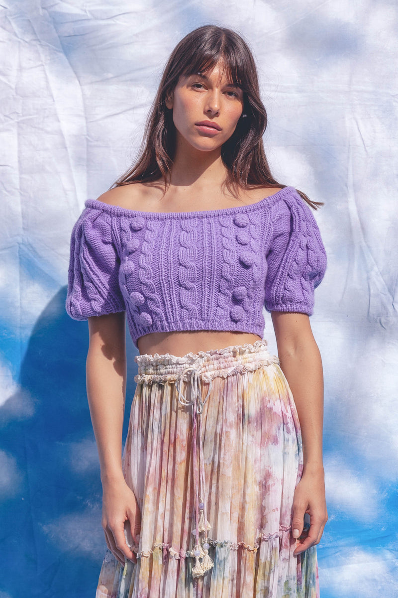 Margot - Knitted Crop Top in Purple