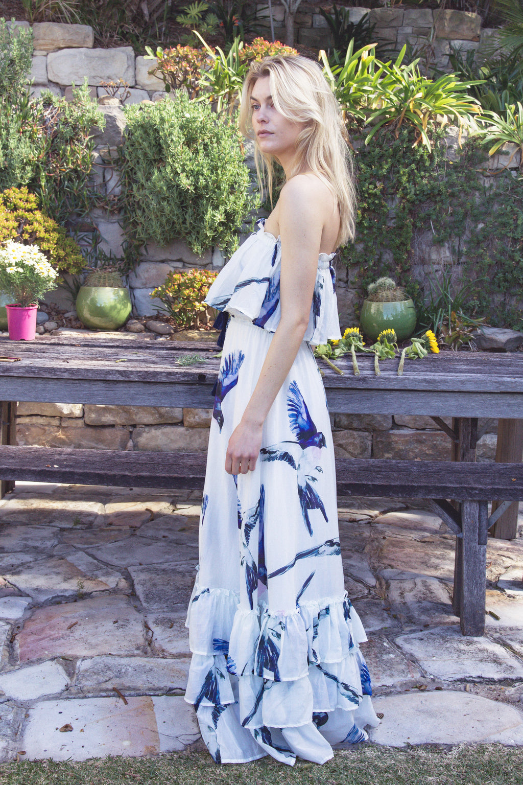 Margot' - Silk Cotton strapless maxi dress