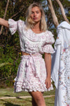 Midsummer Set - Handmade embroidered top & skirt set in Sunday Pink