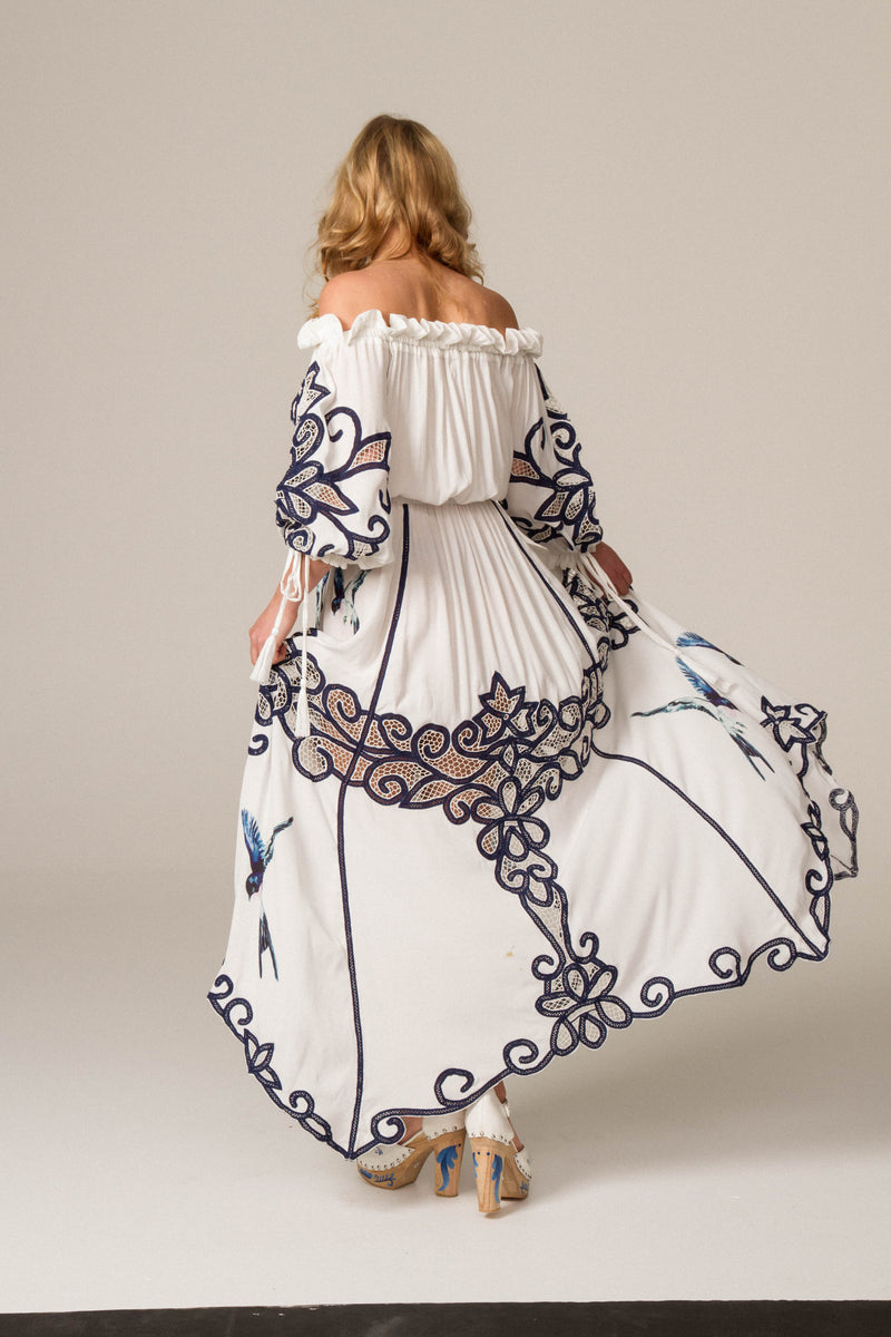FILLYBOO - 'MR BLUEBIRD' - HAND EMBROIDERED OFF-SHOULDER DRESS - IVORY