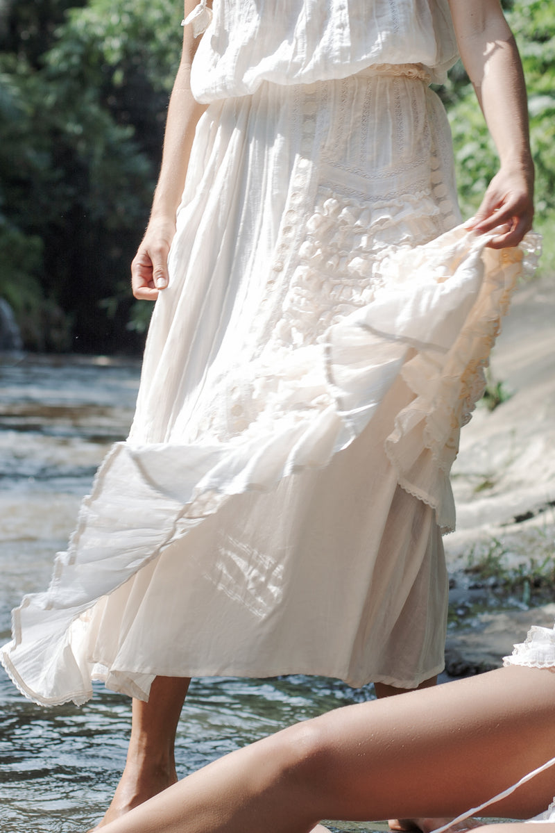 Neverland - embroidered maxi skirt