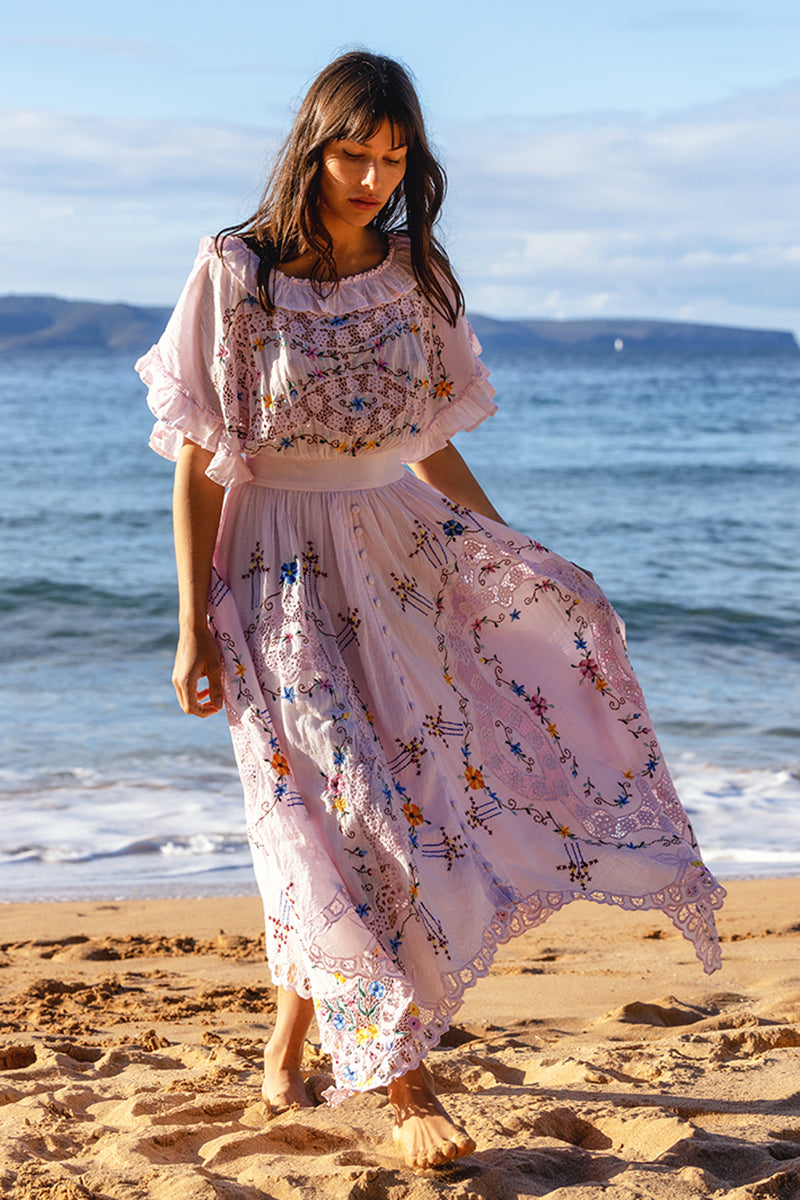 Once Upon A Song - Batwing embroidered maxi dress in Orchid Ice