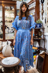 Once Upon A Song - Batwing embroidered maxi dress in Vista Blue